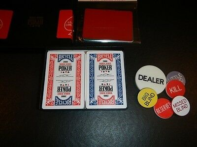 KEM BICYCLE WSOP 2008 World Series of Poker Cards USED, 5 cut cards, Button Set