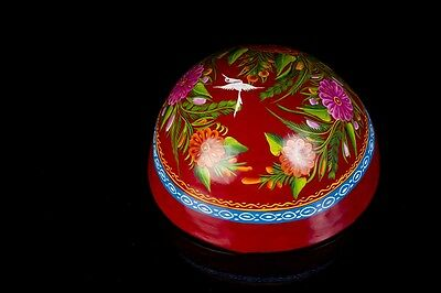LACQUERED HAND PAINTED RED GOURD OLINALA GUERRERO MEXICAN FOLK ART LG1