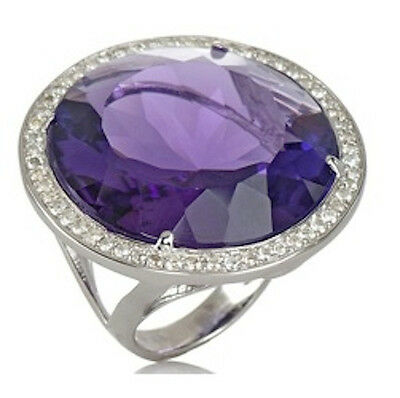 NEW HSN CL by Design 35.72ct Created Amethyst White Topaz Sterling Silver Ring 7