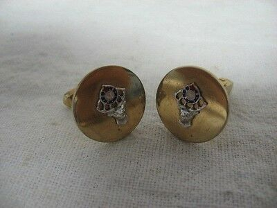 ELKS FRATERNITY 11TH HOUR Gold Tone SWANK Brand CUFFLINKS ~