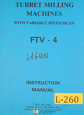 Lagun FTV-4, Milling Machine, Instructions and Parts Manual