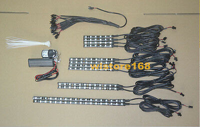 12pc Multi Color LED Motorcycle Lighting Neon Body Engine Glow Lights Strips Kit