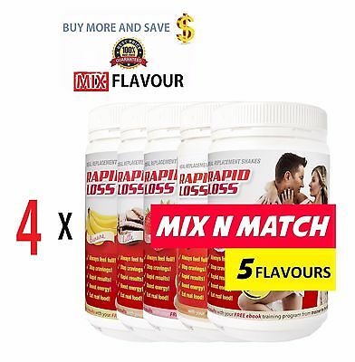 4 X Rapid Loss Shakes 750G Weight Choose Flavours Mix + Free Shaker