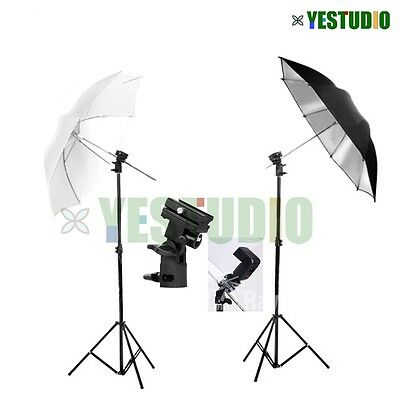 Photography Studio Flash Speedlite Umbrella Lighting Light Stand & 2 Bracket Kit