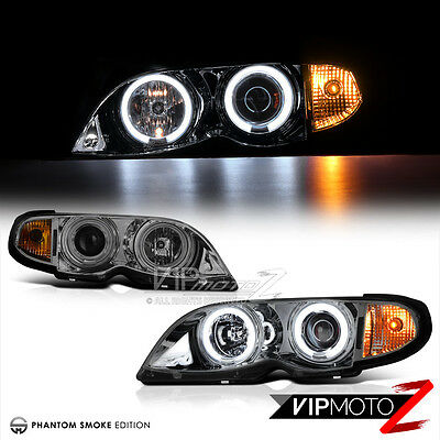 02-05 BMW E46 4DR Titanium Smoke CCFL Halo Angel Eyes Projector Headlight Lamps