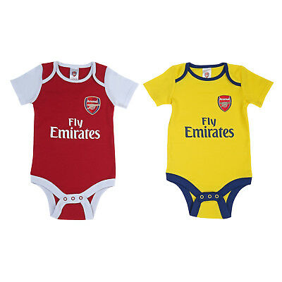 Arsenal FC Official Football Gift 2Pk Home Away Kit Baby Bodysuits
