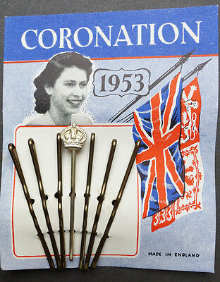 Wonderful 1953 Queen Elizabeth CORONATION Hair Grips with CROWN