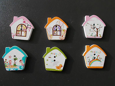 8 X House Shaped Wooden Fridge Magnets