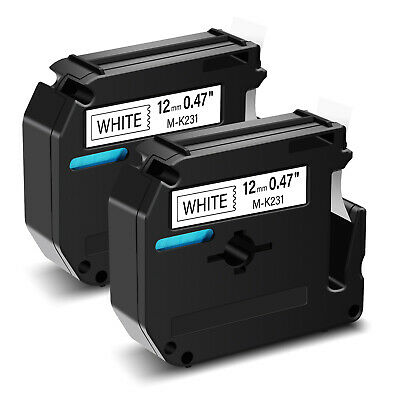 2 PK Black on White Label Tape Compatible for Brother M-K231 MK231 P-Touch PT85