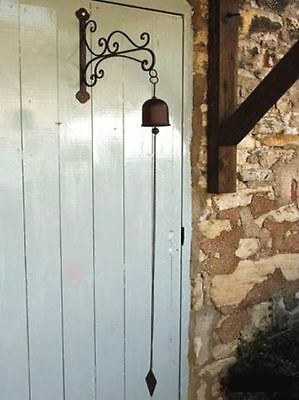 Antique French Vintage Style Hanging Door Bell with Bracket & Chain Black Metal