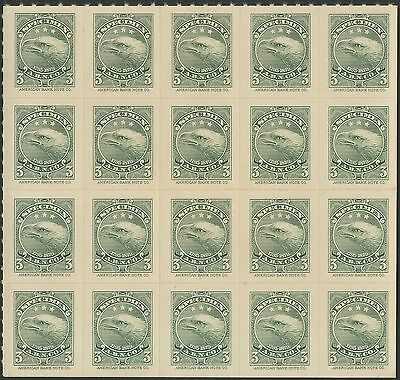 "AMERICAN BANK NOTE Co. BLOCK OF 20 ""EAGLE"" SPECIMEN 3¢ GREEN ESSAY HV8612"