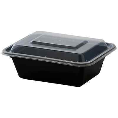 50ct 12 oz Black Rectangular Microwavable Plastic Container with Lid