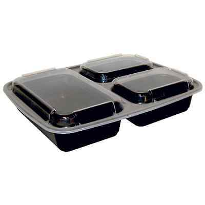 50ct 33 oz Black Rectangular Microwavable Plastic Container with Lid (3 Compartm