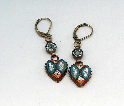 Vintage Drop Dangle Floral Victorian Style Heart Micro Mosaic Earrings