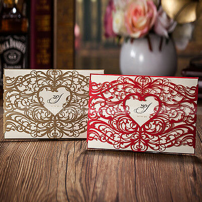 Laser Cut-out Heart Shaped Design Wedding Invitations Cards and Envelopes, Seals