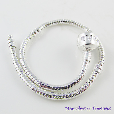 21cm Silver Plated Charm Bracelet, Love Clasp, fit European Beads