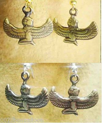 Egyptian Brass Earrings Ancient Pharaoh Hieroglyphics Isis wings  Engraved   111