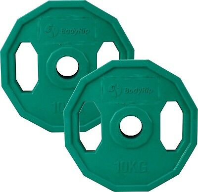 BodyRip 2 x 10KG Olympic Polygonal Colour Coded Weight Plates Lifting Workout