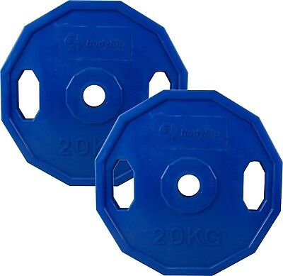 BodyRip 2 x 20KG Olympic Polygonal Colour Coded Weight Plates Lifting Workout