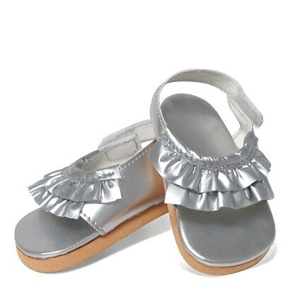 "Doll Clothes 18"" Sandals Ruffle Silver Springfield Fits American Girl Dolls"