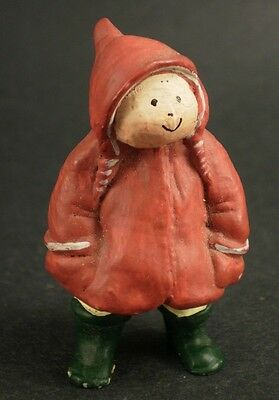 Annekabouke Type Little People Girl Gnome Type Mini Figurine Red Coat