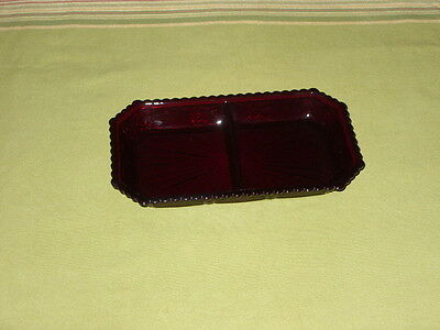 1876 AVON CAPE COD RUBY RED CRANBERRY GLASS DIVIDED SERVING PLATE RELISH DISH