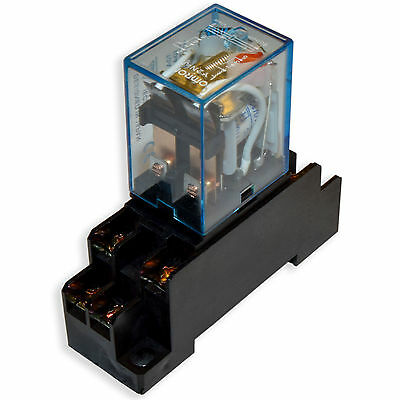 (2 PCs) 10A Omron LY2N-J Cube Relays 12V/AC Coil with PTF08A Socket Base