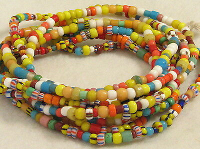 2 Long Strands Old Glass CHRISTMAS or Love Beads African Trade Beads