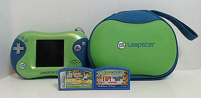Leap Frog Leapster 2 Green & BLUE Game CONSOLE w/ Go Diego Go & I Spy Games