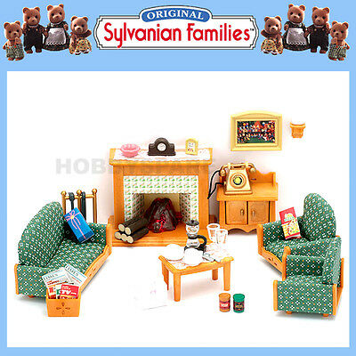 NEW SYLVANIAN FAMILIES LIVING ROOM FURNITURE SET w LIGHT UP FIREPLACE 35+ PIECES