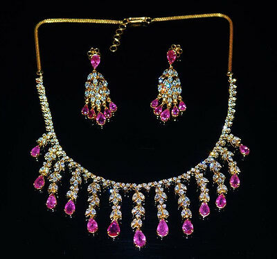 Certified Natural 34Cts Vs F G Diamond Ruby 18K Solid Gold Necklace Earrings Set