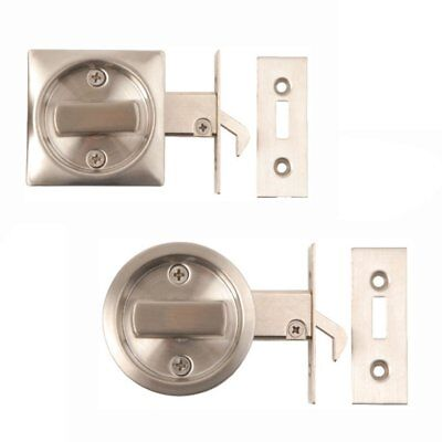 SLIDING DOOR LOCK Bathroom Hook Privacy Round Square Toilet WC Stainless Steel