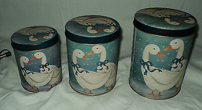 Set of 3 Goose Nesting Tin Canisters