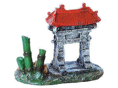 Temple Gate & Bamboo Mini Goldfish Bowl Aquarium Fish Tank Ornament Decoration
