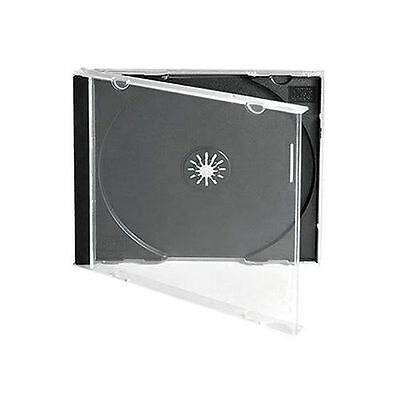 100 x Single CD Jewel Case Cases 10mm 10.4mm With Clear/Black Tray