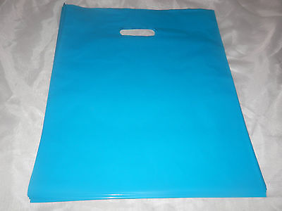18 -12x15 GlossyTeal Blue Low-Density Plastic Retail Merchandise Bags WHandles