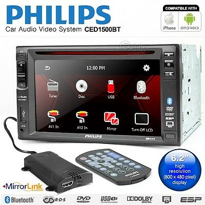 New PHILIPS CED1500BT Double DIN Mirror Link GPS  Car CD DVD Radio Player Stereo