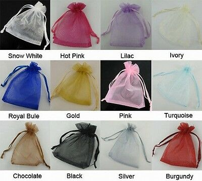 50 Premium SHEER ORGANZA Wedding Party Favour GIFT CANDY BAGS Jewellery Pouches