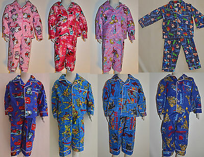 Boys & Girls Frozen Kitty Spiderman Turtle Transformers Cars Winter Pyjamas pjs