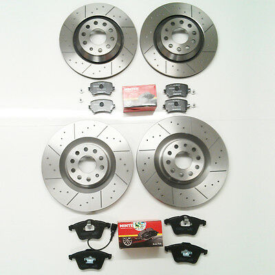 VW Golf Mk5 R32 Front Rear Brake Discs Dimpled & Grooved and mintex Pads