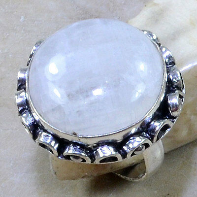Gorgeous Genuine Huge Rainbow Moonstone  Full Moon Antique  925 Silver Ring Sz 7