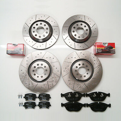 VW Golf Mk4 R32 Front And Rear Brake Discs Dimpled And Grooved and Mintex Pads