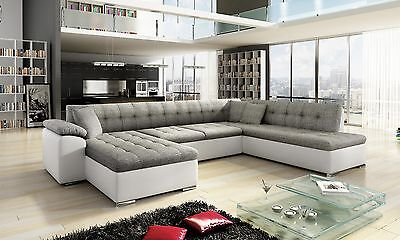 Sale New Scafati Fabric & Leather Corner Sofa With Bed In Black Grey White Grey