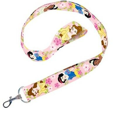 Disney Princess Lanyard Keychain Pink Belle Snow White Tiana Key Chain New
