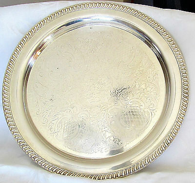 """SPECTACULAR LARGE 15"""" LEONARD SILVER PLATED TRAY WITH INTRICATE PATTERN"""