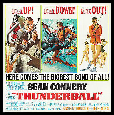 THUNDERBALL * CineMasterpieces ORIGINAL 6 SIX SHEET 1965 MOVIE POSTER JAMES BOND