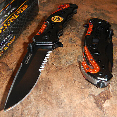 TAC-FORCE Spring Assisted Opening EMT EMS ORANGE Rescue Folding Pocket Knife NEW