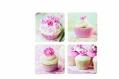 NEW Kitchen Craft Cupcake Cork Back Laminated Coasters