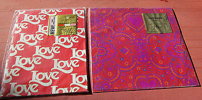VINTAGE   MID-CENTURY 50's 60's sealed WRAPPING PAPER VALENTINE HEARTS 2 PKG