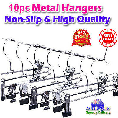 10pc Clothes Wardrobe Metal Steel Clip Clamp Hangers Pants Skirts Coat Trouser
